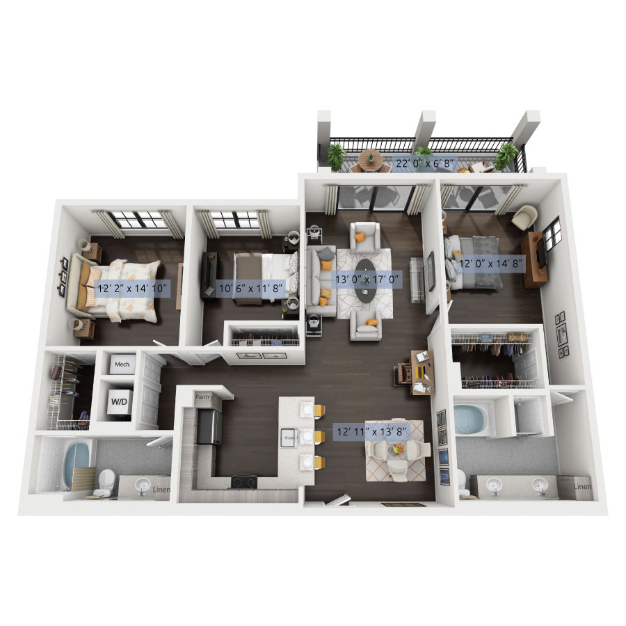 3 Bedroom Townhomes: Luxury One, Two & Three Bedroom Apartments