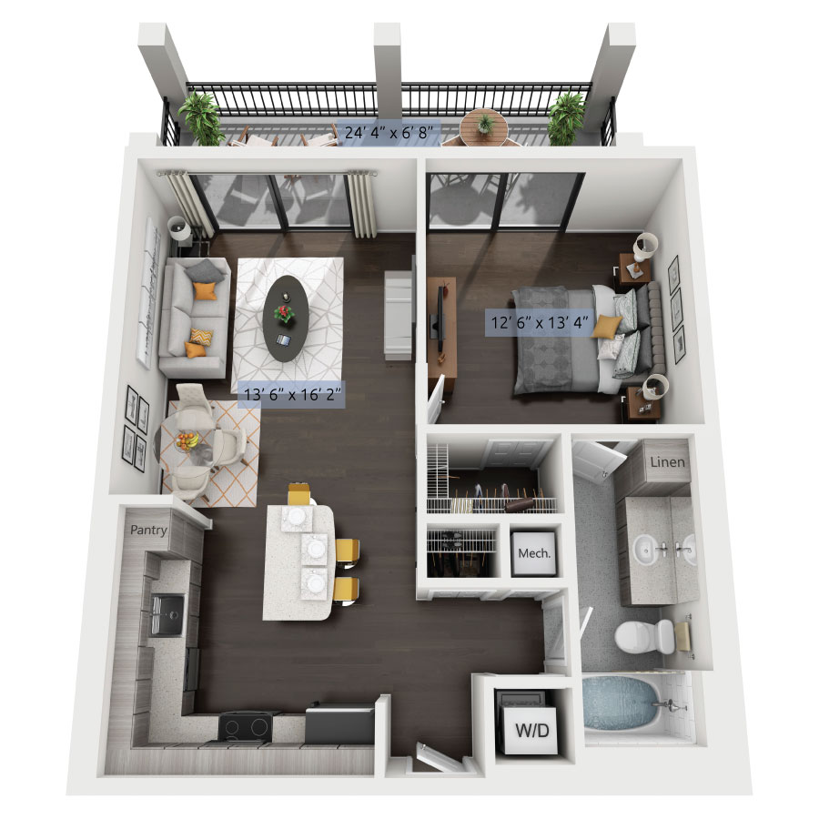 1 Bedroom 1 Bath Starting At: $1,750